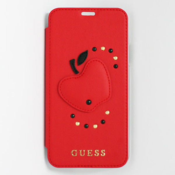 FRUITISTIC - PU LEATHER BOOKTYPE CASE WITH RED APPLE - RED iPhone X (手帳型ケース)
