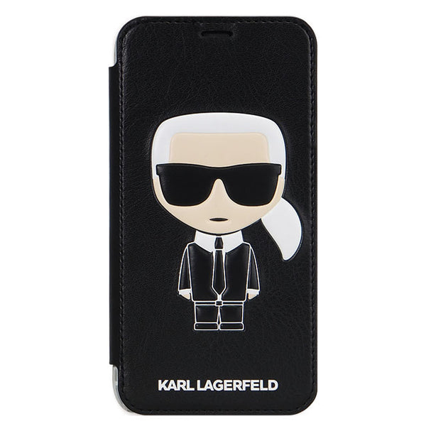 PU Leather Transparent Booktype Case - Iconic Karl Embossed - Black (手帳型ケース)