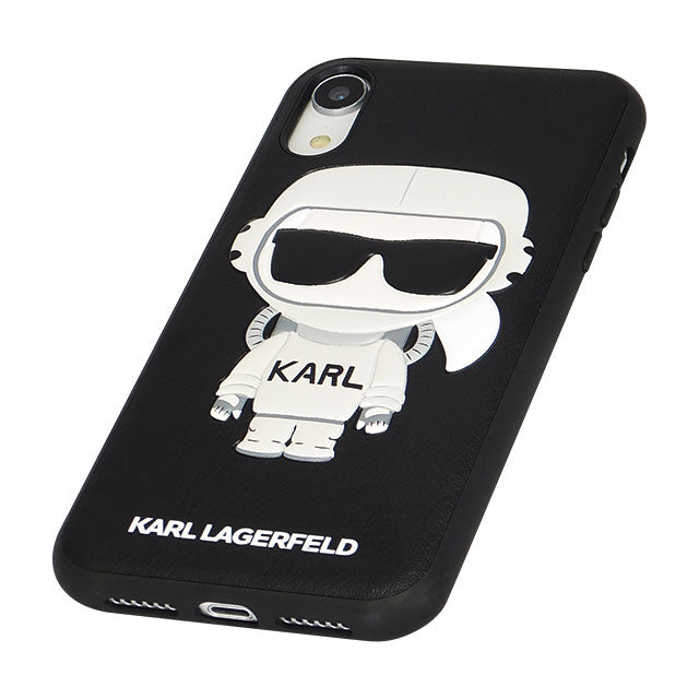 TPU/PC Hard Case - PU Leather - Karl Space - Cosmonaut - Black (ハード型スマホケース)