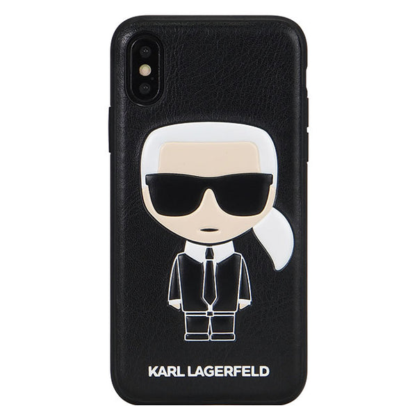 TPU/PC Hard Case - PU Leather - Iconic Karl Embossed - Black (ハード型スマホケース)
