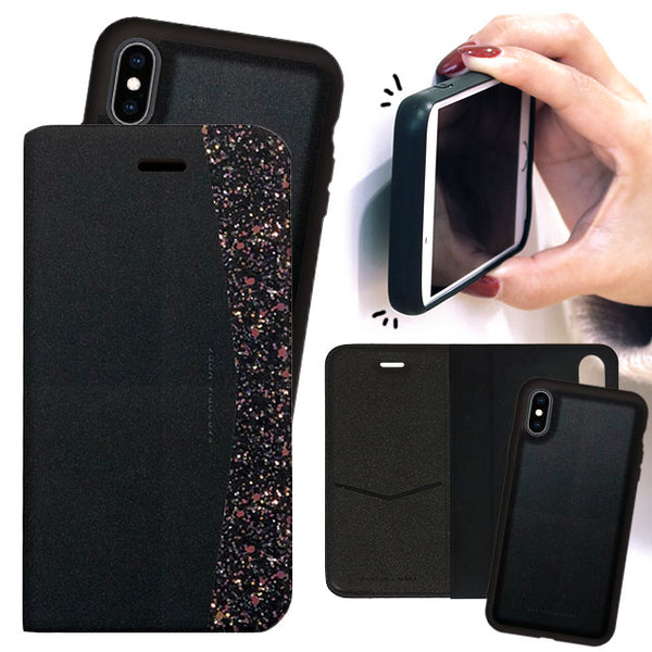 2WAY CASE Glitter_Black (手帳型ケース)