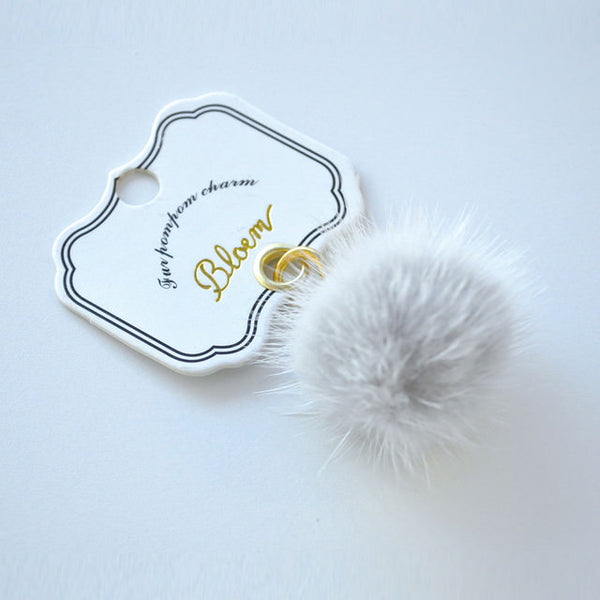 fur pompom charm_Light gray (チャーム)
