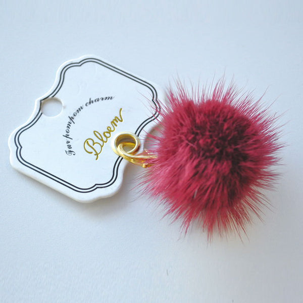 fur pompom charm_Wine red (チャーム)