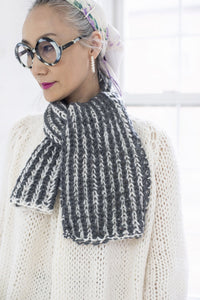 DIY Kit - 2 Color Brioche Scarf - Merino Worsted