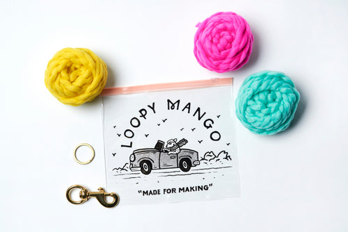 Three Pom Pom Keychain DIY Kit - Merino No. 5