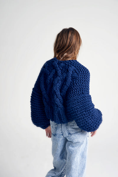 Cropped Fisherman Cardigan - Merino