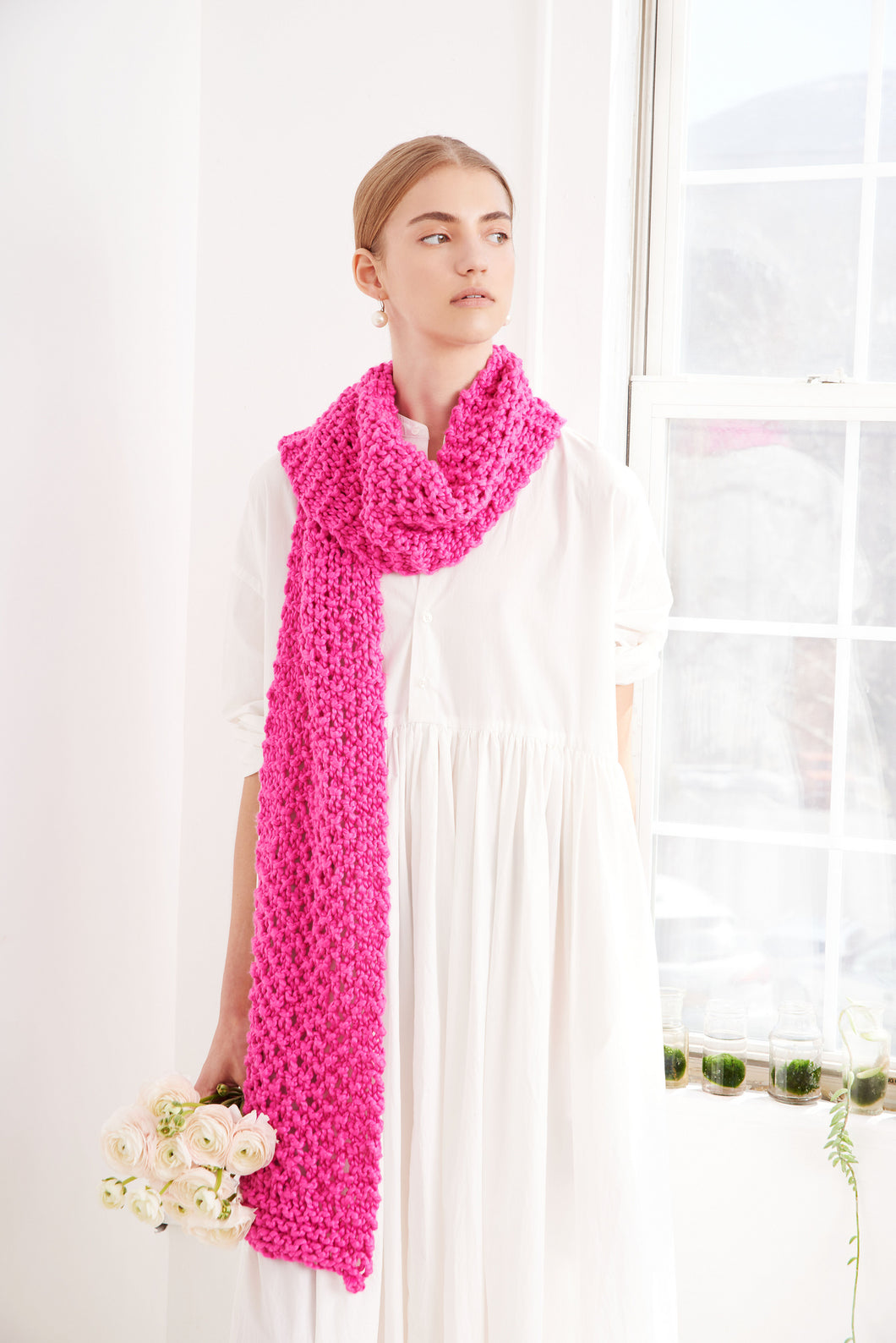 Moss Stitch Scarf - Cotton