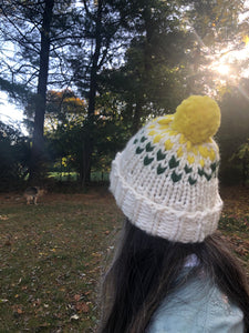 DIY Kit - Edelweiss Pom Pom Hat with 3 colors - Merino No. 5