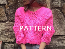 Load image into Gallery viewer, Peacock Plumes Sweater PATTERN- Dream (Merino Worsted)