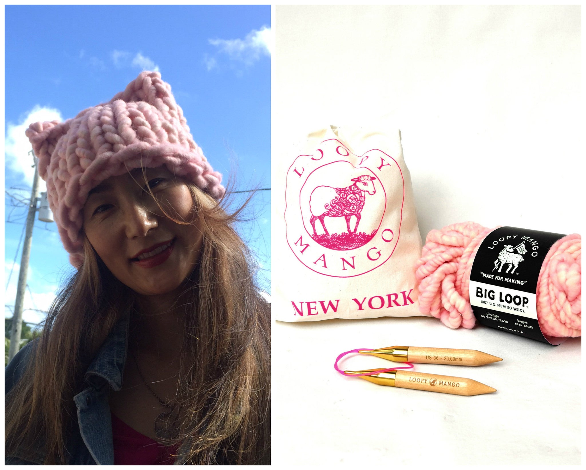 Big Loop Kitty Hat DIY Kit Cotton Candy - Support Women's March on Washington