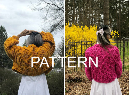 Cropped Fisherman Cardigan PATTERNS- Merino No. 5 AND Big Cotton