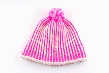 Load image into Gallery viewer, DIY Kit - Vertical Stripe Pompom Hat - Dream (Merino Worsted)