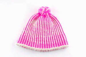 DIY Kit - Vertical Stripe Pompom Hat - Dream (Merino Worsted)