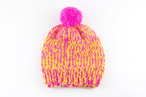 Mixed Pompom Hat- PATTERN - Dream (Merino Worsted)