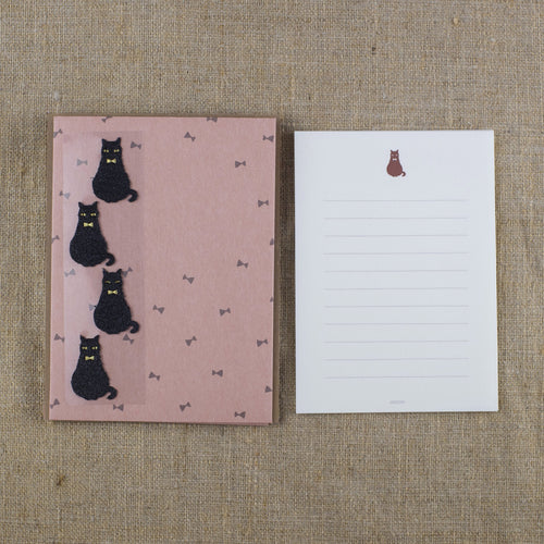 Midori Black Cat Letter Set & Envelopes with Stickers