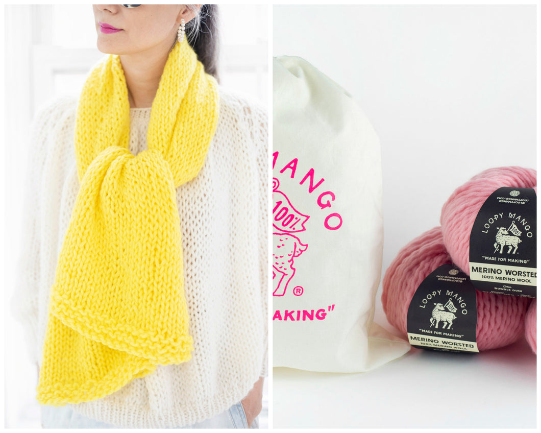 DIY Kit - Easy Scarf - Merino Worsted
