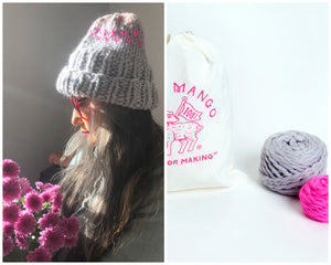 DIY Kit -  Edelweiss Hat with 3 colors - Merino No. 5