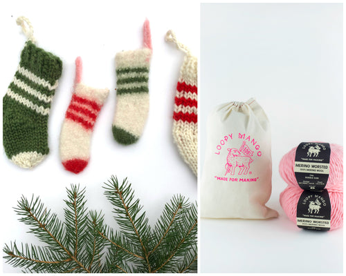 DIY Kit - Christmas Stocking Ornaments - Dream (Merino Worsted)