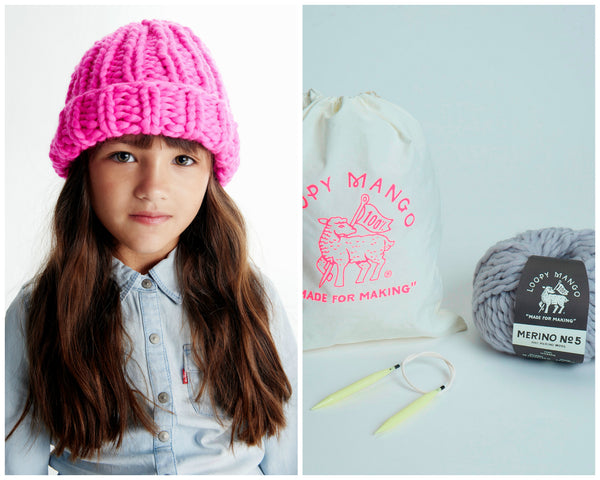 DIY Kit - Mini Beanie 5-8 years - Merino No. 5
