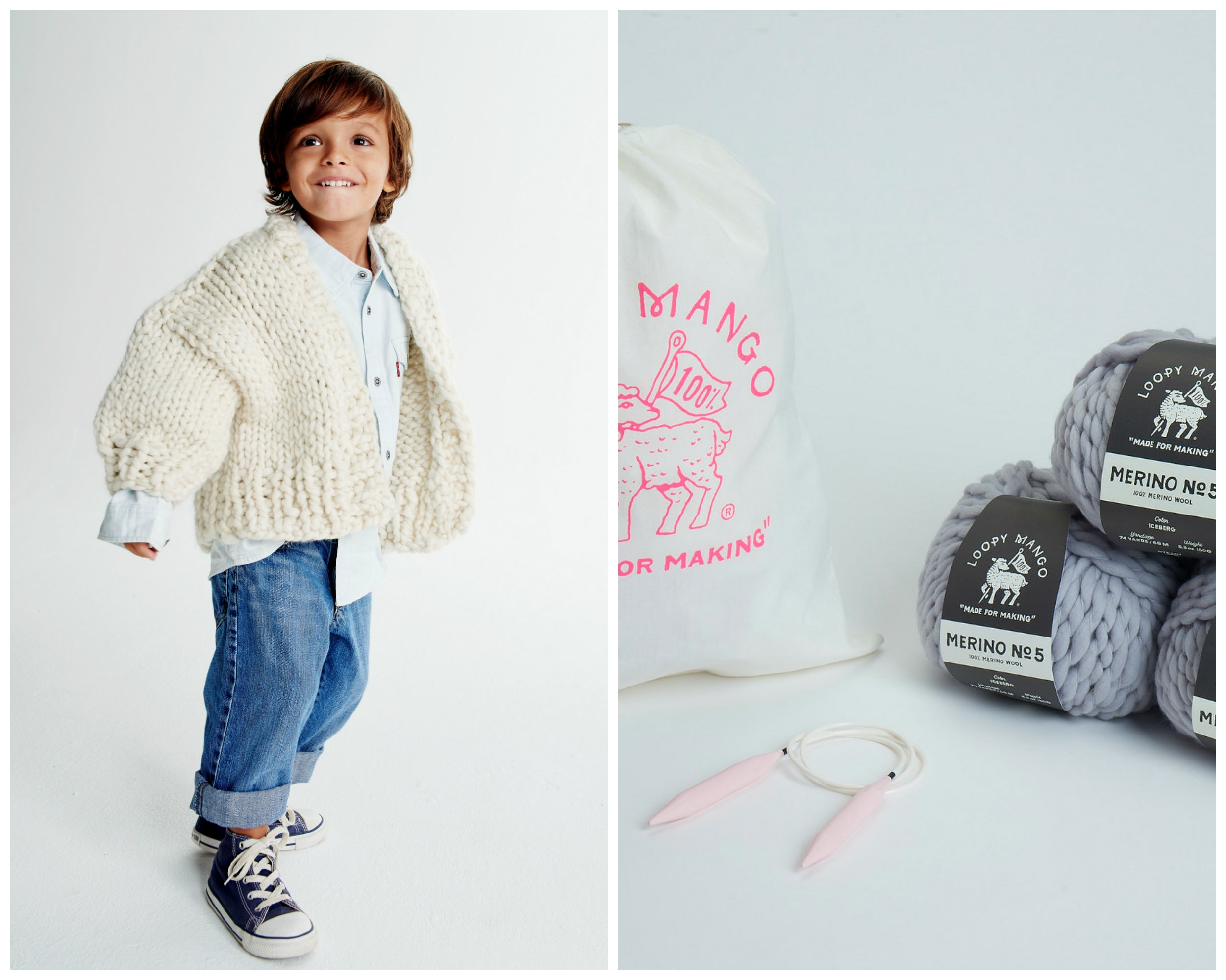 DIY Kit- Mini Cardi Size 2-4 years - Merino No. 5