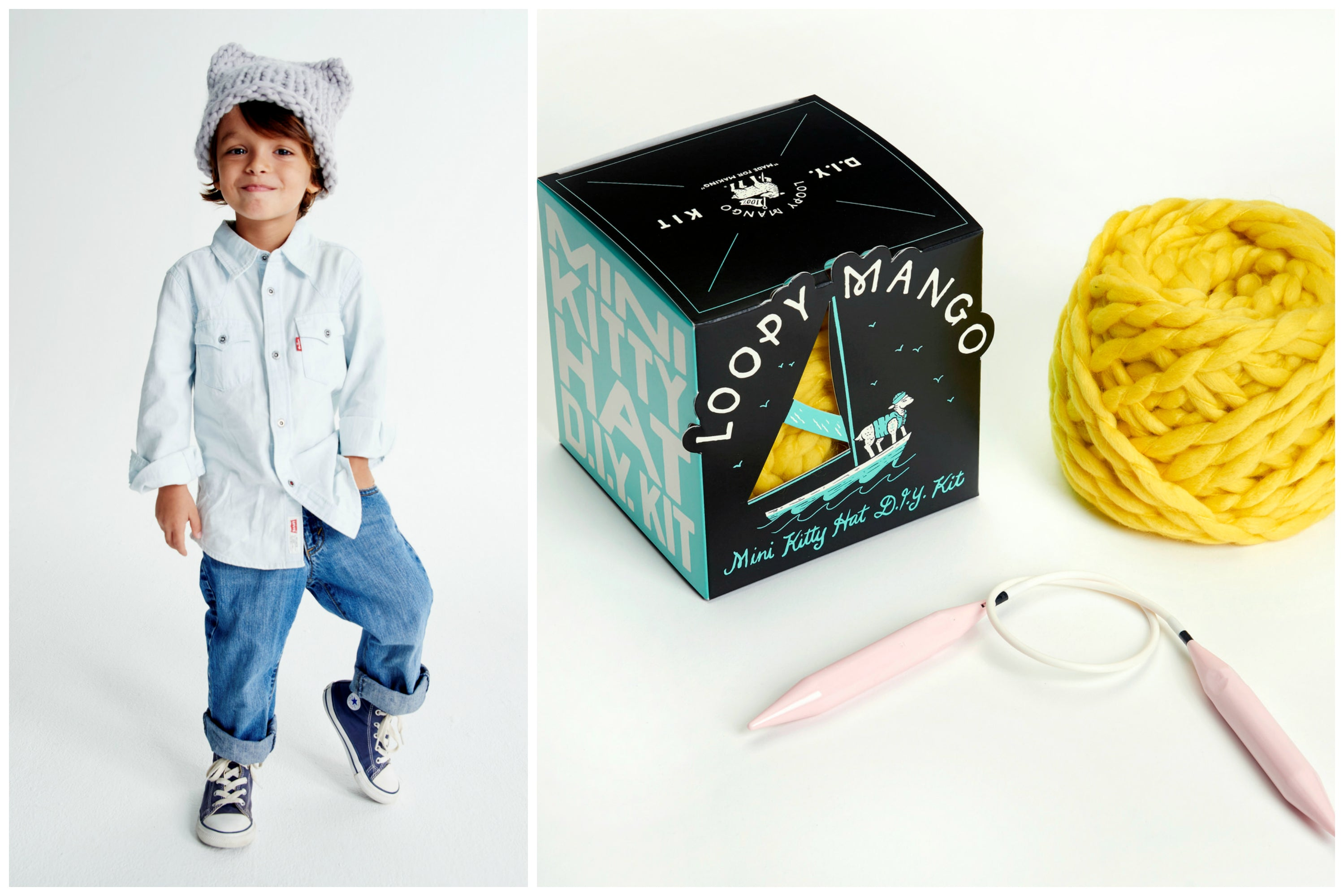DIY Box Kit - Mini Kitty Hat 1-4 years old - Merino No. 5