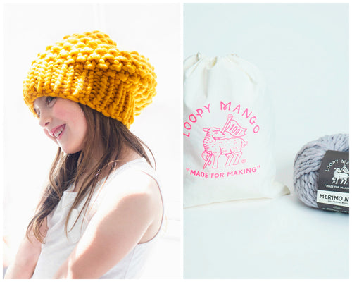 DIY Kit - Mini Moss Stitch Beanie - Merino No. 5
