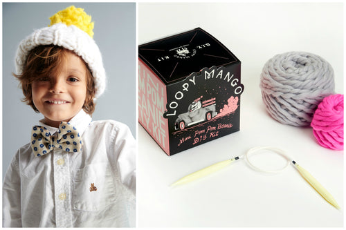 DIY Box Kit - Mini Pompom Beanie 1-4 years old - Merino No. 5