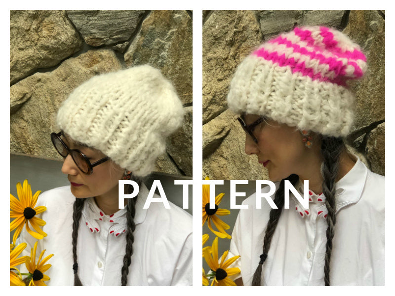 Slouchy Beanie-Solid and Stripe PATTERN - Fluffy Alpaca