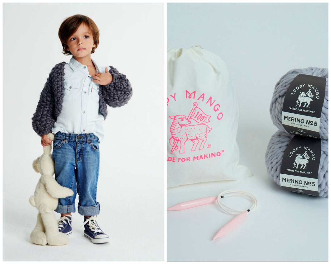 DIY Kit - Mini Cropped Cardigan 2-4 years - Merino No. 5