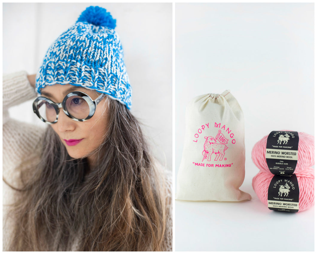 DIY Kit - Mixed Pompom Hat - Dream (Merino Worsted)