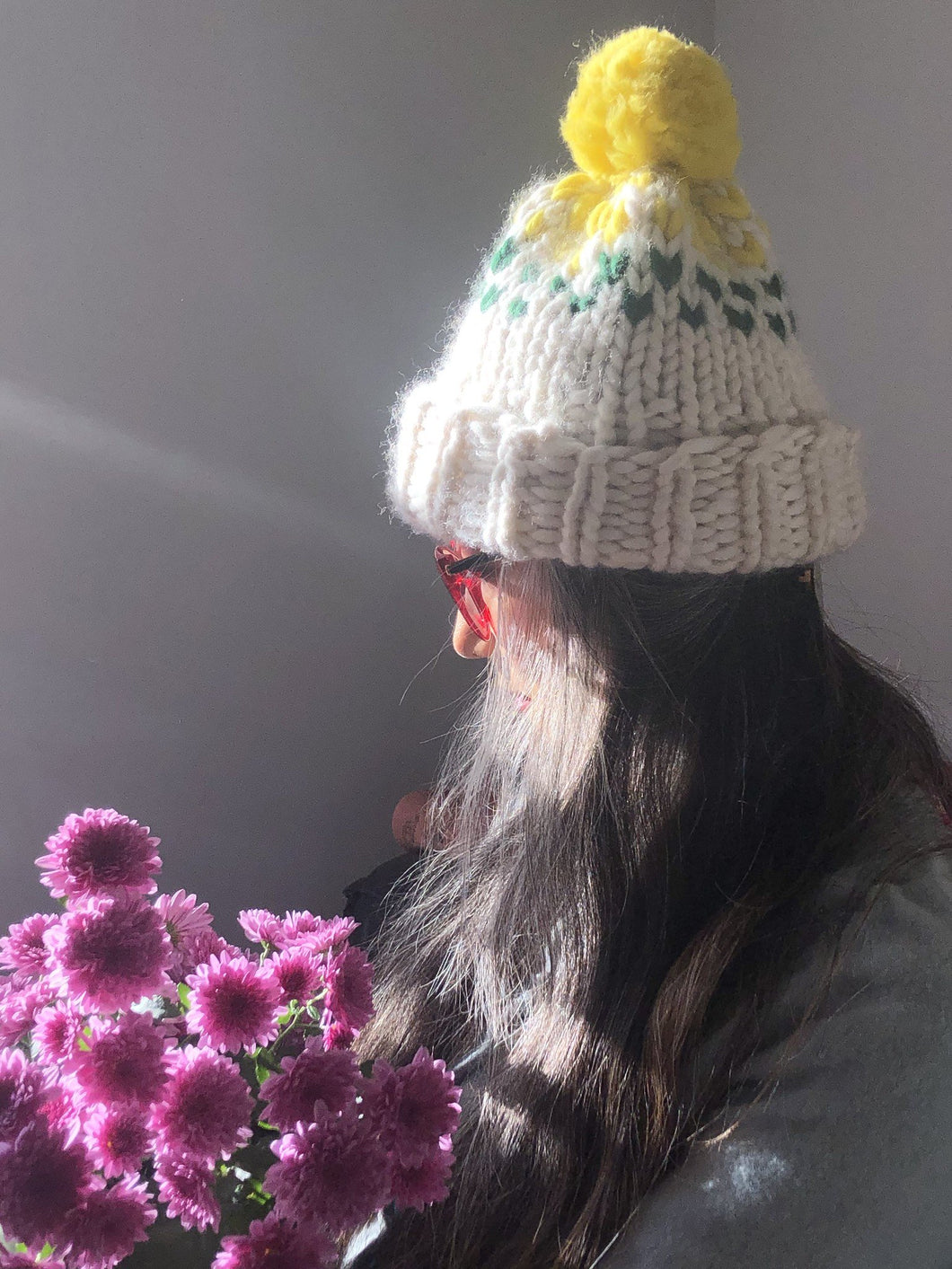 Edelweiss  Pompom Hat  with 3 colors - Merino