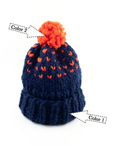 Edelweiss Pompom Hat with 2 colors - Merino