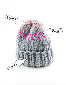 Edelweiss Hat with 3 colors - Merino