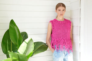Tank Top with Fringe - Cotton