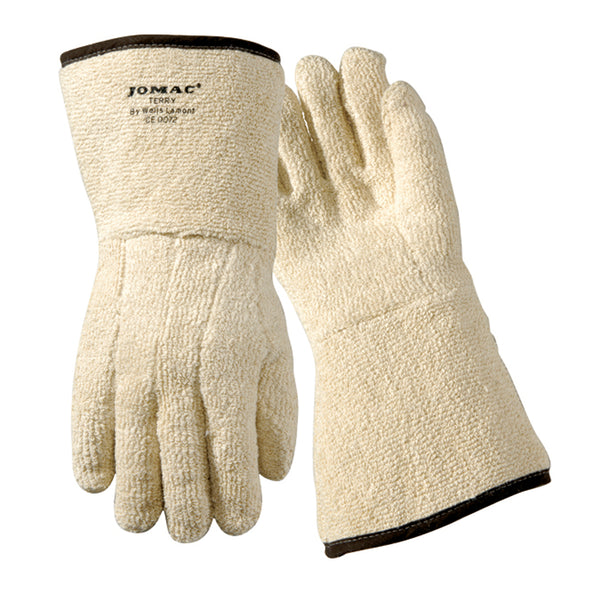 "Wells Lamont KELKLAVE Large 10"" White Heavy Weight Terry Cloth Heat Resistant Gloves With 5"" Gauntlet Cuff And Full Thumb"