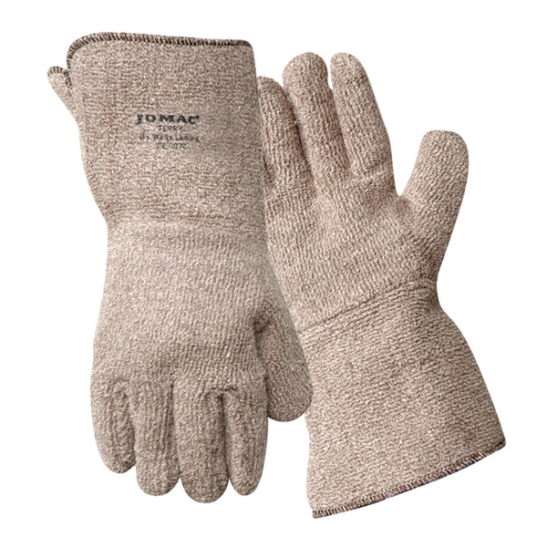 "Wells Lamont Jomac® X-Large 10"" Brown Extra Heavy Weight Terry Cloth Heat Resistant Gloves With 5"" Gauntlet Cuff And Full Thumb"
