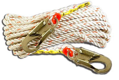 3M™ Vertical Rope Lifeline with Two Double Locking Snap Hooks 50 ft