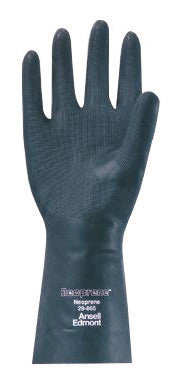 "Ansell Size 9 Large Black Neoprene® 13"" Flock Lined 18 mil Unsupported Chemical Resistant Gloves With Sandpatch Finish And Straight Cuff"