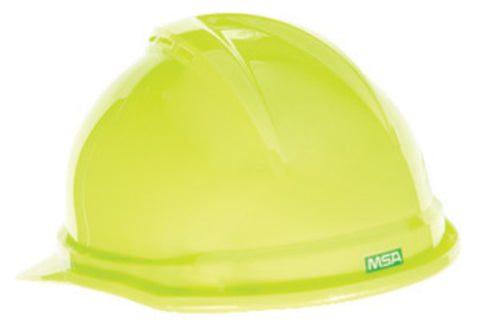 MSA Yellow Polyethylene Cap Style Hard Hat With Ratchet/4 Point Ratchet Suspension   -Price is per 1 Each