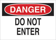 "Brady® 7"" X 10"" X .035"" Black/Red On White Aluminum Safety Sign ""DO NOT ENTER"""