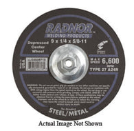 "Radnor® 9"" X 1/4"" X 7/8"" A24R Aluminum Oxide Type 27 Depressed Center Grinding Wheel For Use With Right Angle Grinder On Metal And Steel"