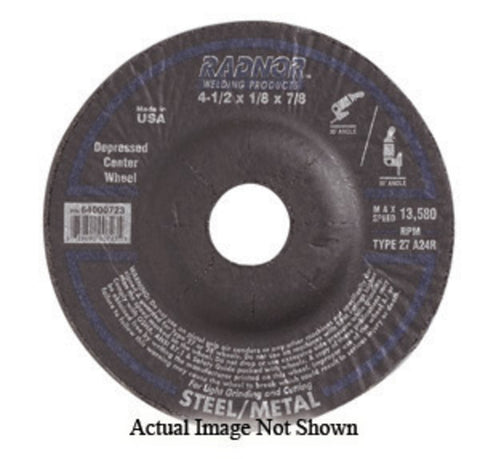 "RADNOR® 4"" X .125"" X 3/8"" Aluminum Oxide Type 27 Depressed Center Cut Off Wheel/Grinding Wheel   -Price is per 20 Each"