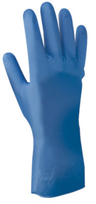 SHOWA® Size 7 Nitri-Dex® 11 mil Chemical Resistant Blue Nitrile Palm And Fingertip Coated Work Gloves With Cotton Flock Liner And Rolled Cuff