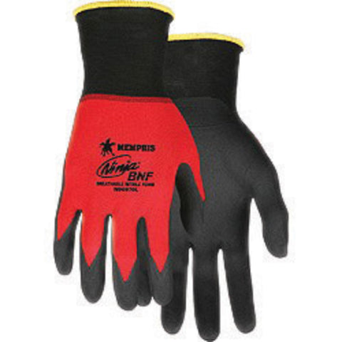 MCR Safety X-Large Ninja® BNF 18 Gauge Black Breathable Foam Nitrile Palm And Finger Tip Coated Work Gloves With Red Nylon/Spandex® Liner And Knit Wrist
