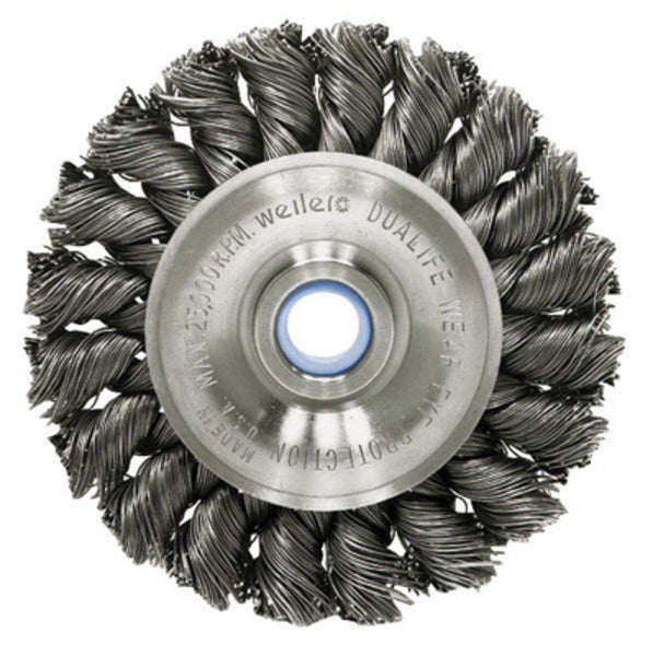 "Weiler® 3"" X 1/2"" - 3/8"" Dualife Carbon Steel Standard Twist Knot Wire Wheel Brush For Use On Bench/Pedestal"