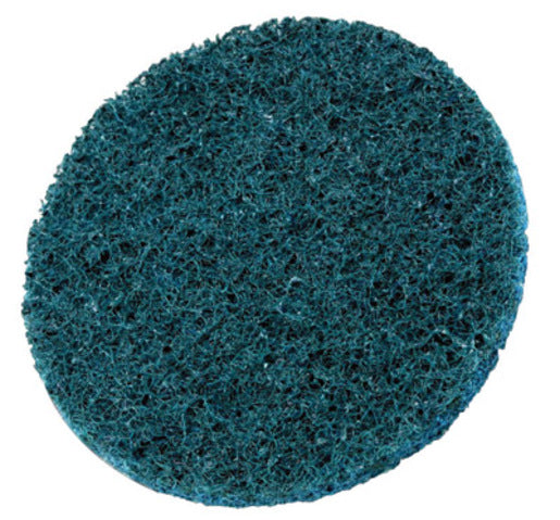 "3M 3"" X No Hole Very Fine Grade Aluminum Oxide Scotch-Brite Blue Hook And Loop Non-Woven Surface Conditioning Disc"