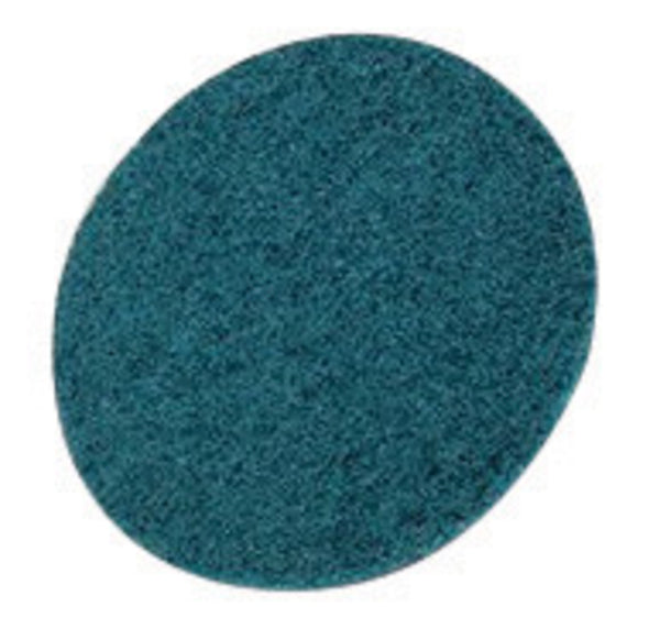 "3M 5"" X No Hole Very Fine Grade Aluminum Oxide Scotch-Brite Blue Hook And Loop Non-Woven Surface Conditioning Disc"