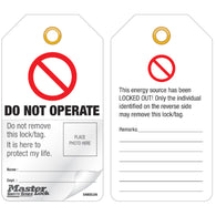"Master Lock® White Polypropylene Safety Tag ""DO NOT OPERATE"""