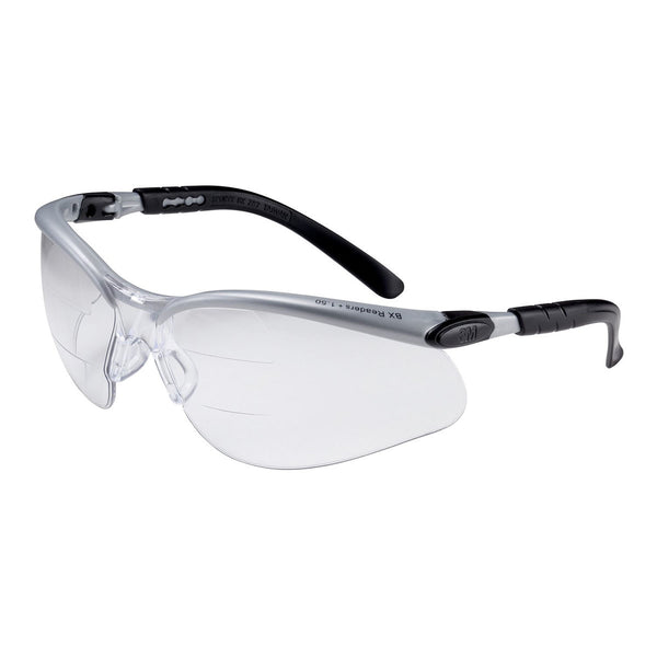 3M BX Dual Readers Silver And Black Frame Safety Glasses With Clear Lens