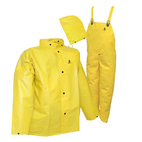 Tingley 2X Yellow  DuraScrim 10.5 mil PVC And Polyester 3-Piece Rain Suit With Front Snap
